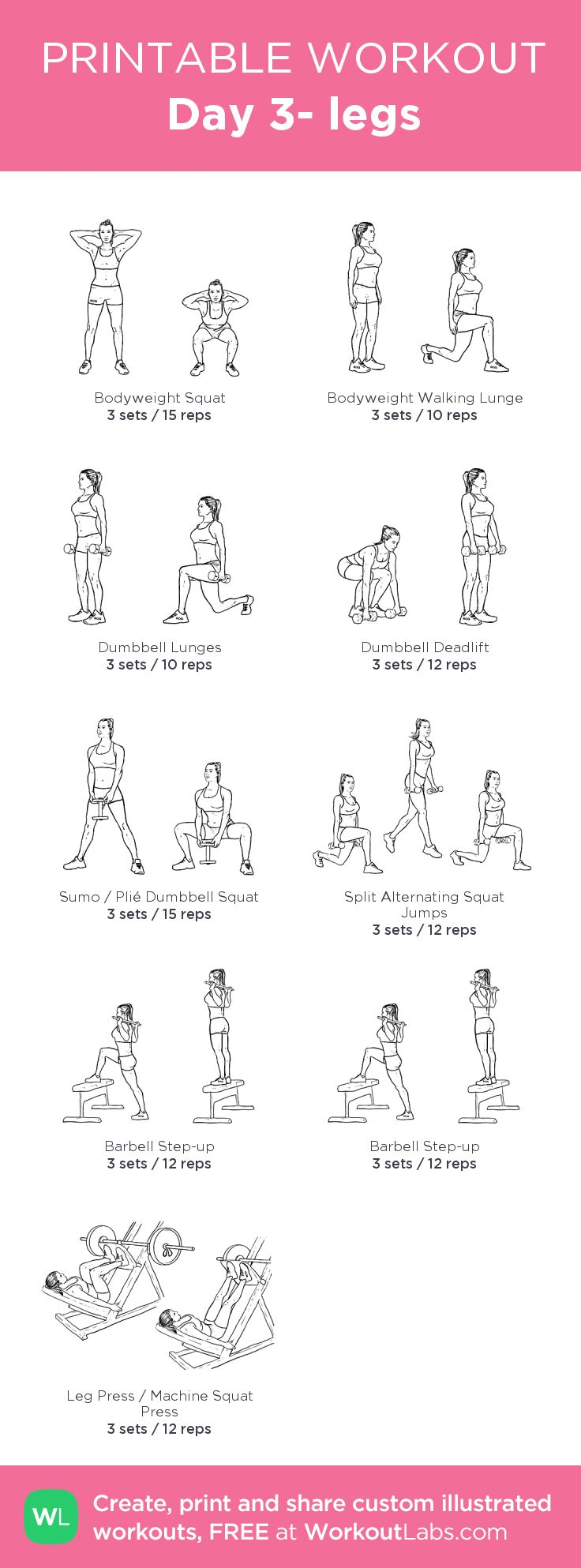 Day 3- legs –my custom workout created at WorkoutLabs.com • Click through to download as printable PDF! #customworkout