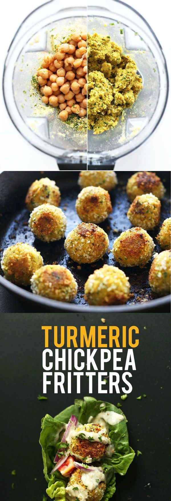 AMAZING Vegan 30 Minute TURMERIC Chickpea Fritters! Little falafel-like pillows of bliss // SO flavorful!