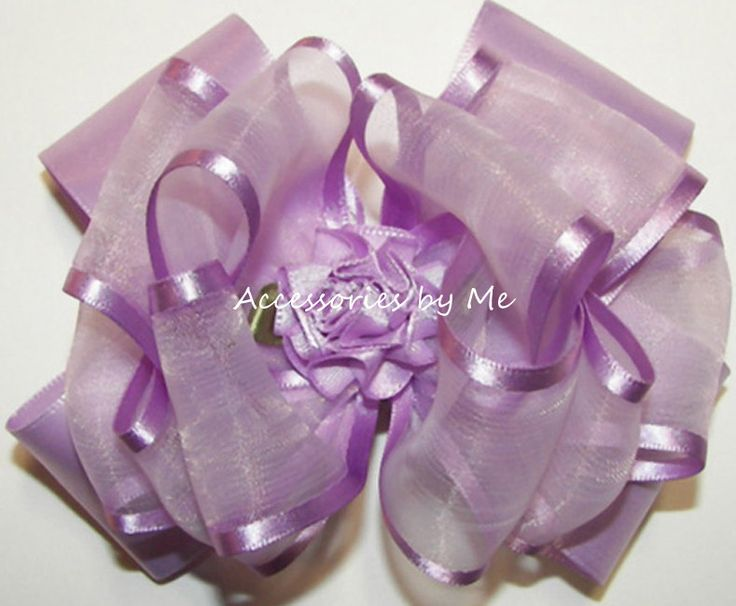 Fancy Lavender Hair Bow / Organza Satin Trim by AccessoriesbyMe