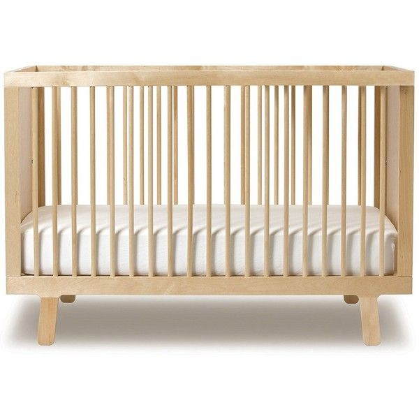 Oeuf Sparrow Crib - Birch ($825) ❤ liked on Polyvore featuring home, children's room, children's furniture, nursery furniture, furniture, baby, kids, beds and beige
