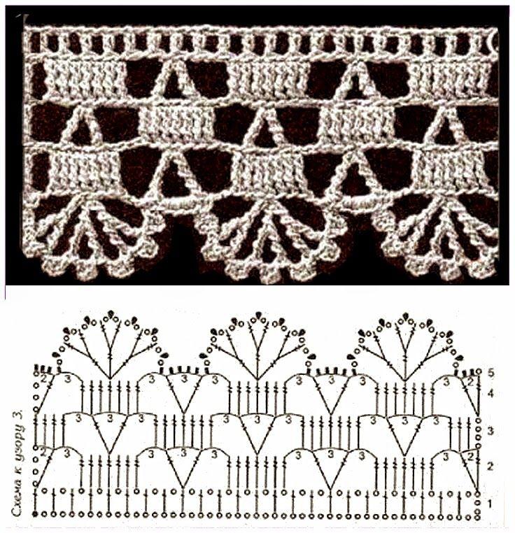 3744 best bordi frange e pizzi images on pinterest for Schemi bordure uncinetto per lenzuola