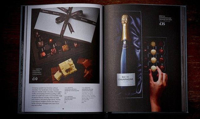 Spread from Booths Christmas book 2014 by smithandvillage.com