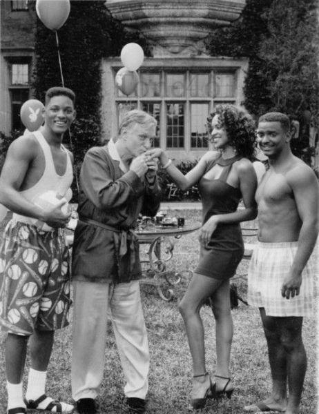 Will, Hugh Hefner, Hilary & Carlton. [1993]