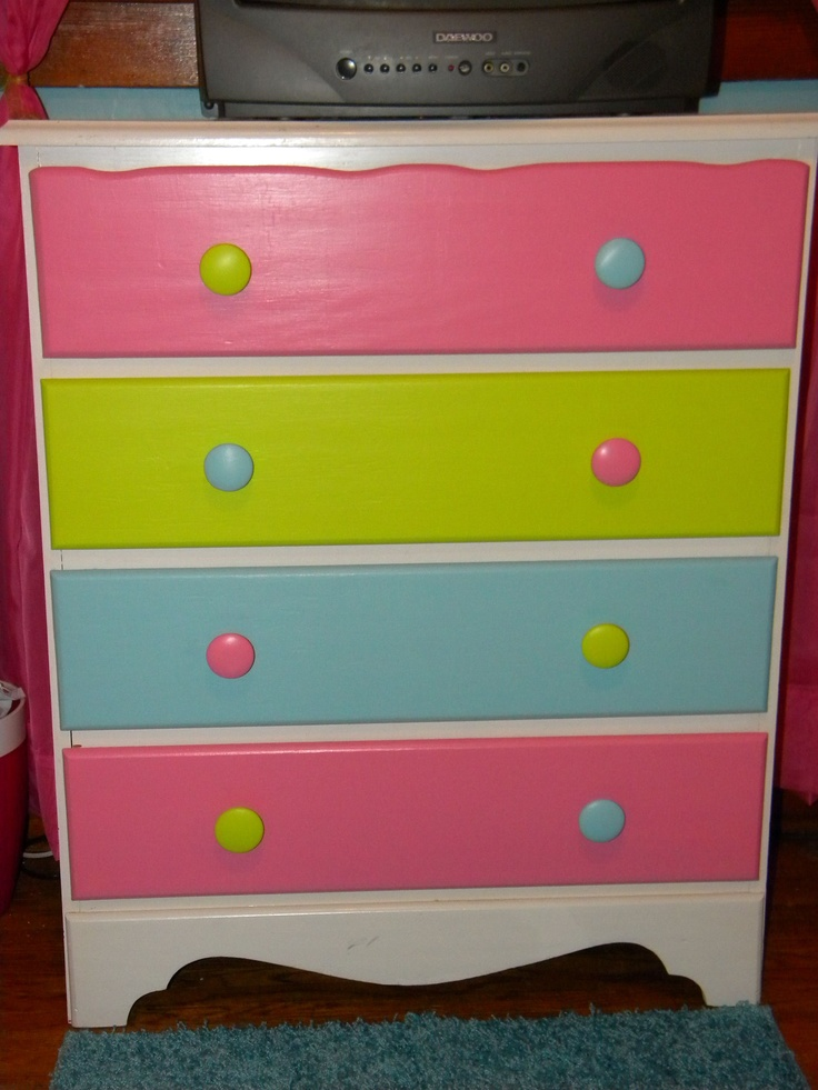 Vintage dresser with hot pink, lime green, blue | Froo ...