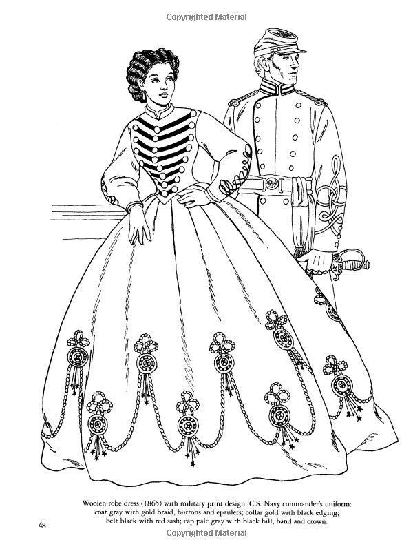 civil war fashions coloring book dover fashion coloring book amazonco