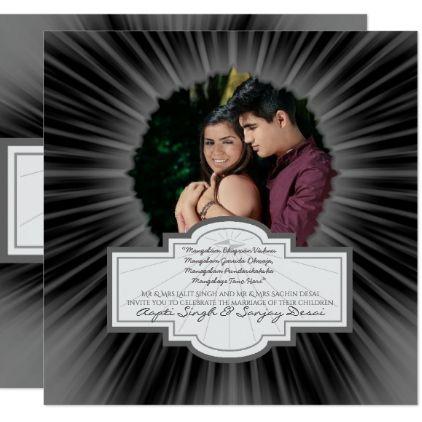 ADD PHOTO Hindu Wedding Invitation Silver Grey - marriage gifts diy ideas custom