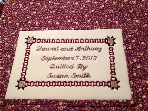 Machine Embroidered Quilt Label