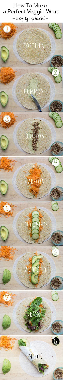 Fajita vegetariana con tortillas integrales, hummus, quinoa y verduras