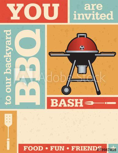 Retro Barbecue Invitation with vector grunge texture