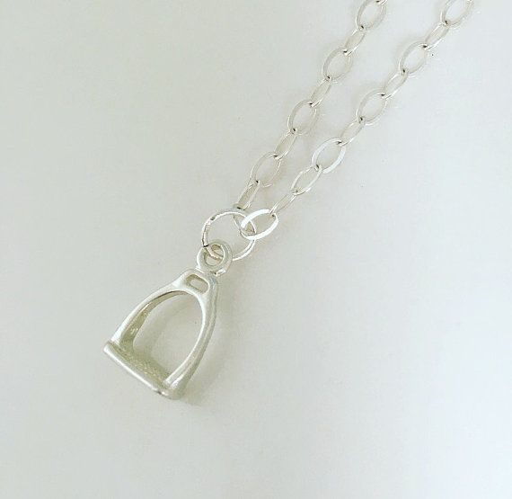 Sterling silver stirrup necklace equestrian by CharlotteFarrBridal