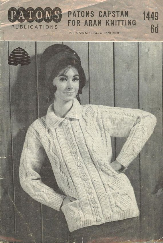 Vintage Aran Cardigan Knitting Pattern : Ladies aran cardigan vintage knitting Retro Chic Blouses ...
