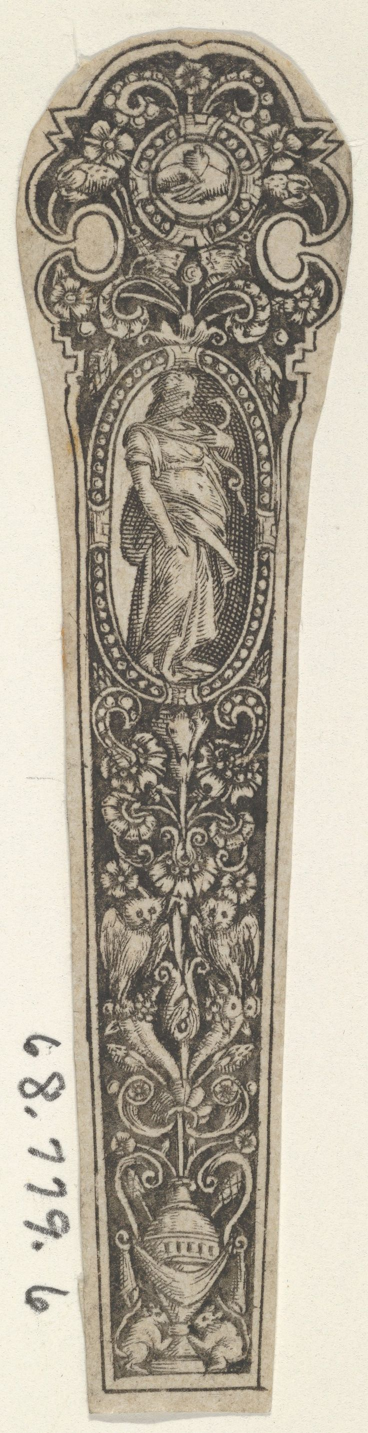 Design for a Knife Handle with the Personification of Prudence Artist: attributed to Johann Theodor de Bry (Netherlandish, Strasbourg 1561–1623 Bad Schwalbach) Date: 1580–1600