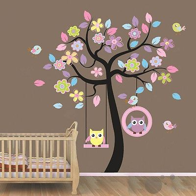 Gaint-2pcs-in-1-Wall-Sticker-owl-tree-baby-nursery-room-decor-decals-mural-art