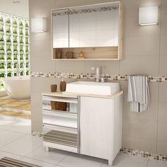 Gabinete para Banheiro com Espelheira Balcony Torino 90 (Não acompanha torneira) Artico/Cabernet
