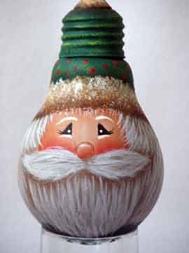 Painted light bulb...here's a free original SANTA design!http://www.your-decorative-painting-resource.com/painted-light-bulb.html#