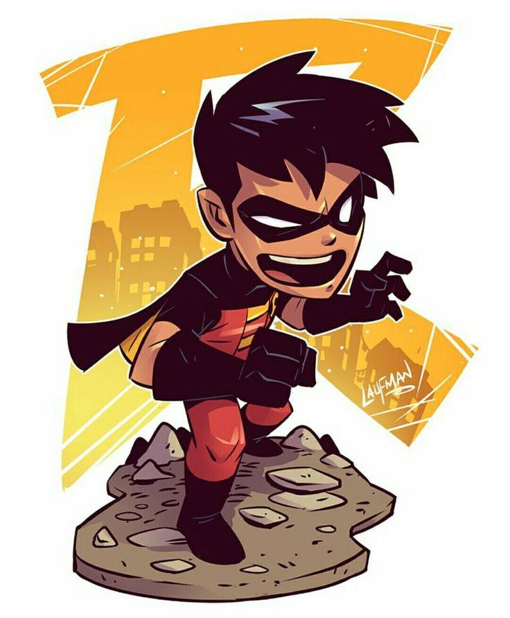 Robin Chibi by Derek Laufnan #DerekLaufman #Robin #Batman