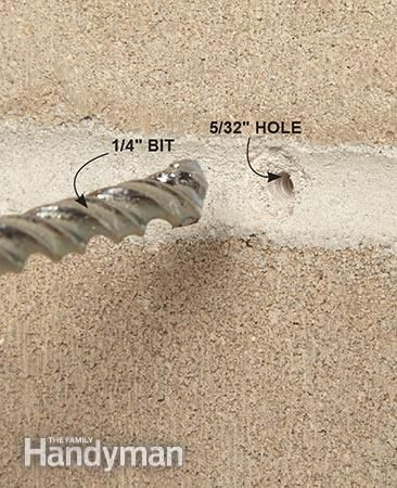 When you drill into concrete it's sometimes easier to first drill a hole with a smaller bit. Get the Drilling Into Concrete Tools guide: http://www.familyhandyman.com/tools/drills/drilling-into-concrete-tools-rotary-hammers-and-hammer-drills/view-all