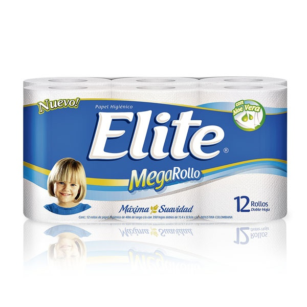 Papel higiénico Elite Mega rollo, doble hoja x 12 Und