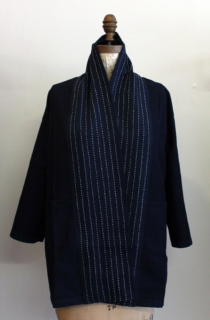 Senninbari Indigo Hand Embroidered Jacket | home make-able with an old blazer and a pretty scarf. frankenstein time!