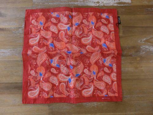 auth KITON Napoli red paisley motif linen pocket square handkerchief - NWOT