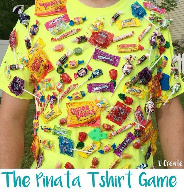 What a fun alternative to a traditional Pinata. Pop this shirt on someone fit and fast and let the kids chase them down. I know a few dads who would love to be the live bait for this game. You can…