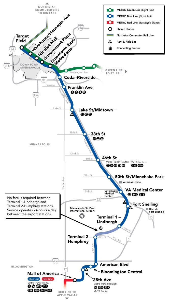 Twin Cities METRO Blue Line map