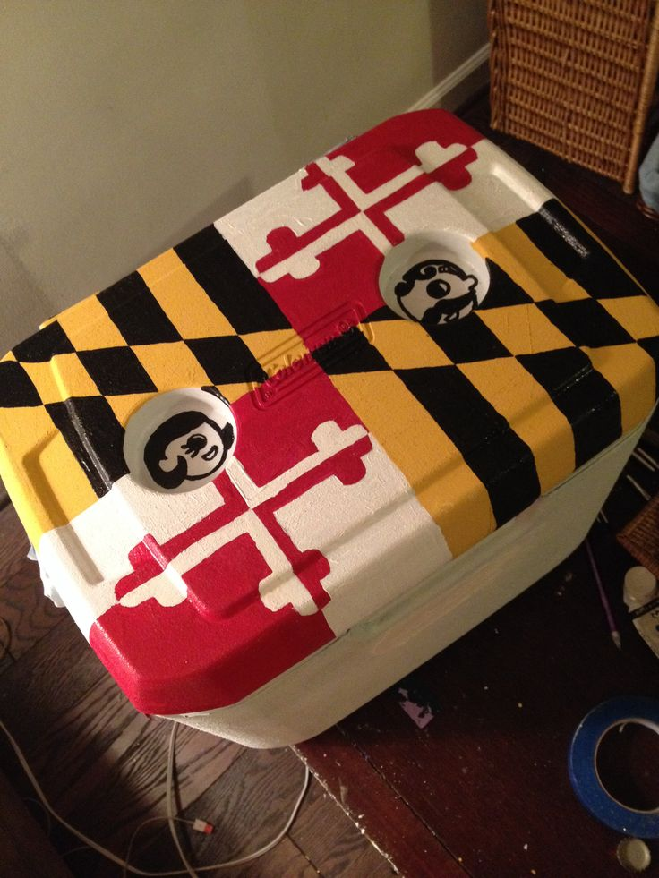 Painted Cooler Maryland flag natty boh