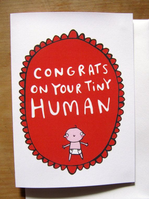 45 best greeting cards images on pinterest funny valentine congrats on your tiny human new baby greeting card congratulations gender neutral non soppy baby card baby shower katie abey m4hsunfo