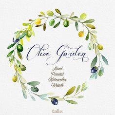 Oliva corona acquerello mano pittura oliva cucina di ReachDreams