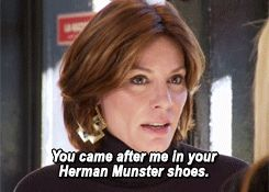 """real housewives of new york city I forgot Lu called Alex's Louis Vuitton shoes """"Herman Munster Shoes"""", gold!"""
