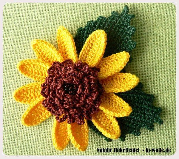 Sonnenblumen mit Blättern häkeln