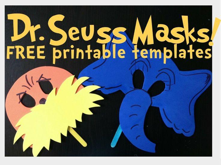 ... Seuss Masks, Seuss Printable, Horton Masks, Dr Seuss Mask, Dr. Seuss