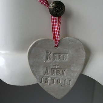 Bespoke hanging hearts. Perfect for wedding or anniversary gifts! (also a great anniversary date reminder for those forgetful men out there!) Only £14.99