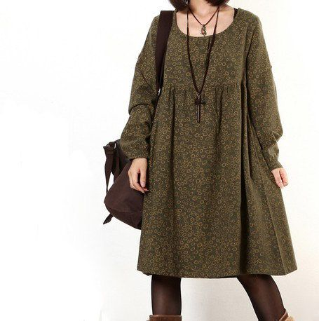 Floral Print dress cotton dress long sleeve dress linen dress casual loose dress cotton shirt large size cotton blouse plus size dress(160) on Etsy, £37.04