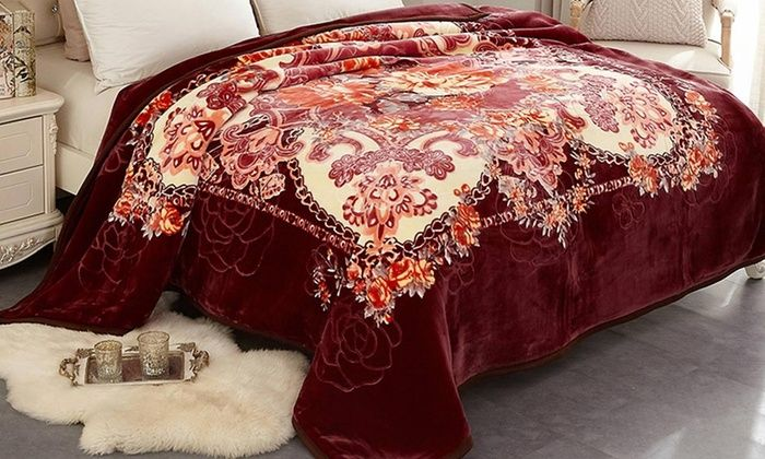 New Thick Big Size Soft Plush Bed Faux Mink Blanket Throw Air Quilt Red Love