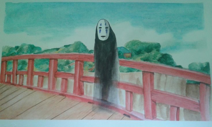 Draw watercolor no face Spirited Away El viaje de Chihiro