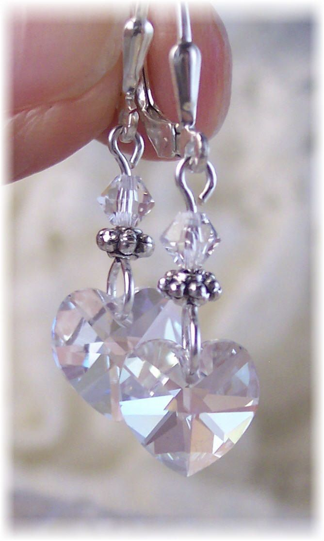 New Swarovski Clear Heart Crystal Pendant Silverplate Antique Dangle Earrings $19.99
