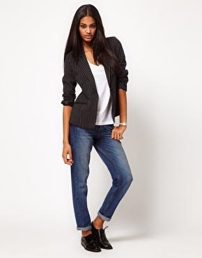 casual pinstripe blazer