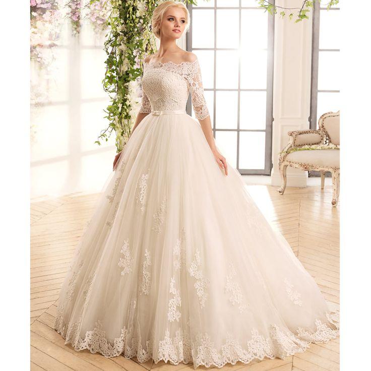 ligne à manches longues robe de mariée 2016 robe de mariée robes ...