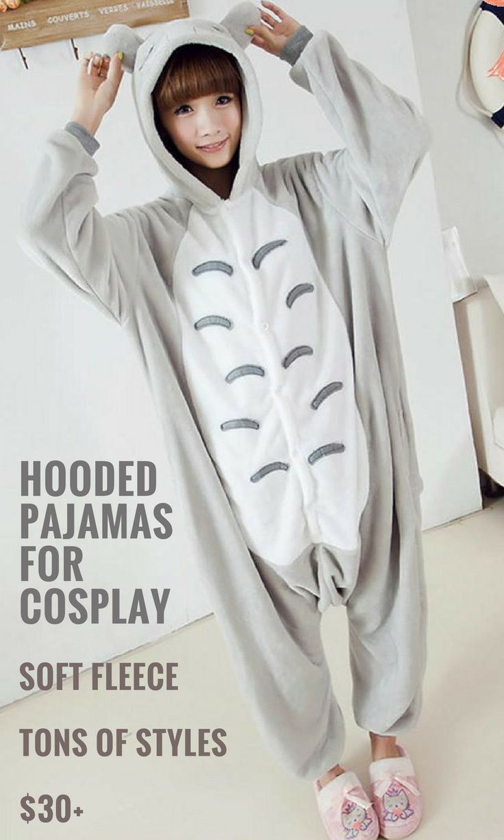 These hooded pajamas are super affordable and they come in a bunch of different styles you could use for costumes and cosplay.  This one is inspired by Totoro, really cute... I love the ears! #affiliate #cosplay #thatsdarling #kigurumi