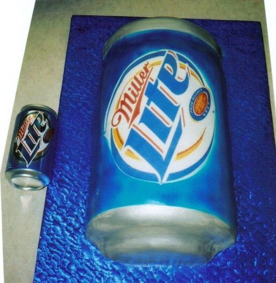 Miller - Beer can - This was a giant beer can for a groom's cake who's favorite drink is Miller lite.