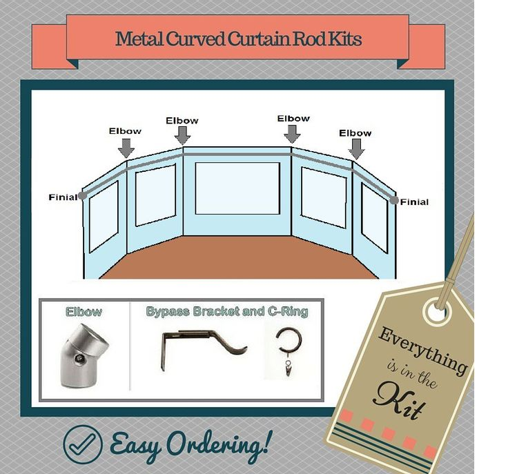 Metal CURVED Curtain Rod Kit By Pass Brackets (1 3/8 In