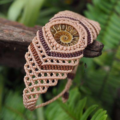 Macrame Bracelet Ammonite Fossil Jewelry Stones Hippie Handmade Bohemian http://www.allthingsvogue.com