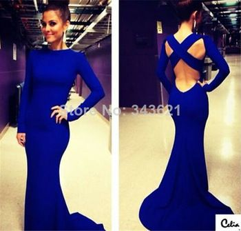 Sexy robe de soiree High Neck Long Sleeve Criss Cross Backless Royal Blue Evening Gown Sexy Mermaid Prom Dresses