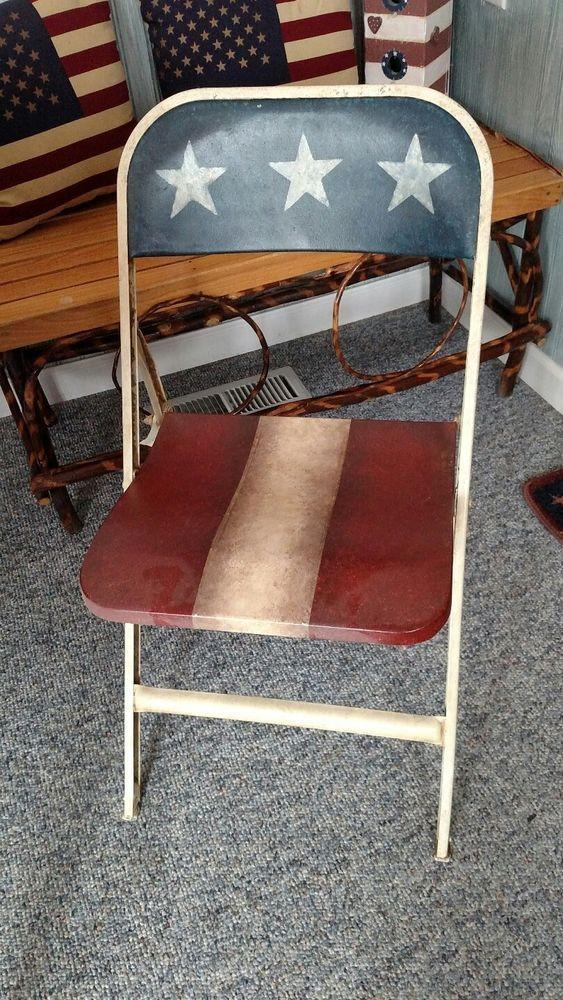 Marvelous American Flag Americana Decor Red White And Blue Folding Short Links Chair Design For Home Short Linksinfo