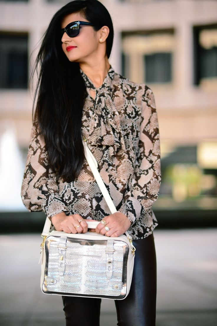 Animal Print & Faux Leather-004 http://zunera-serena.com/python-bow-blouse/