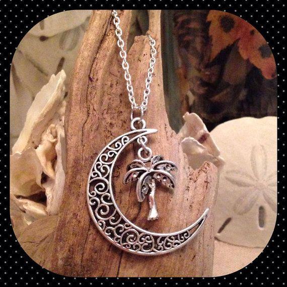 Palm & Moon Necklace by JessasJewels on Etsy, $30.00 www.facebook.com/jessasjewels