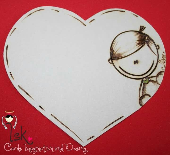 Tarjeta en pirograbado Detalles de amor