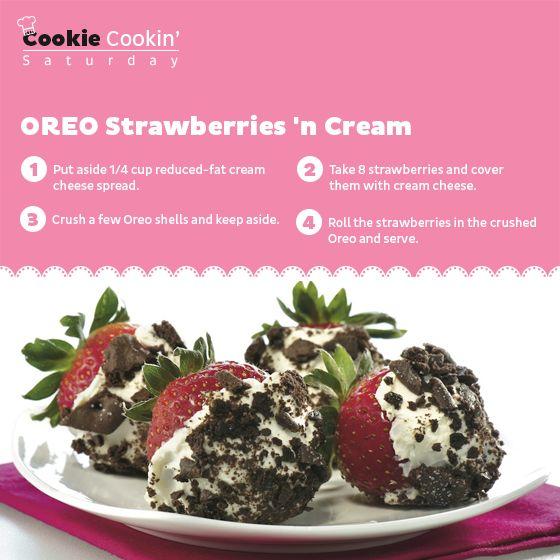 Or just relish a Strawberry Crème Oreo instead. #Saturday #CookieCookin' #Strawberries #Cream #Recipe