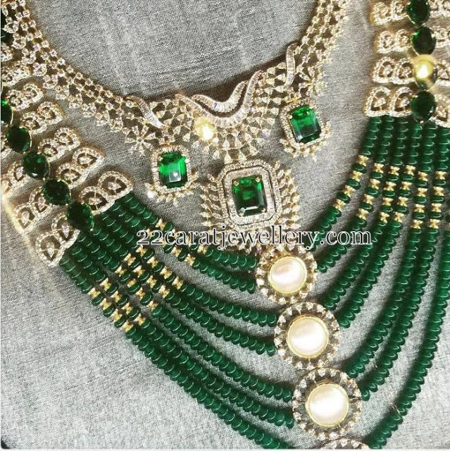 Jewellery Designs: Emerald Beads and Diamonds Set